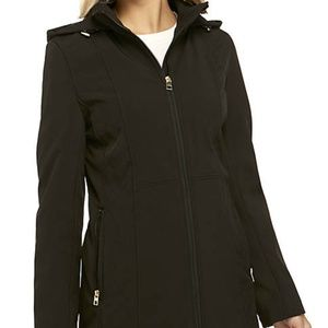 NWT Anne Klein Hooded Black Soft Shell Jacket NEW